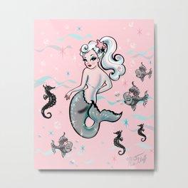 Pearla the Mermaid on Pink Metal Print