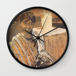 Painting of traditional dressed girl in front of cross at Lake Atitlan- Guatemala. Wall Clock