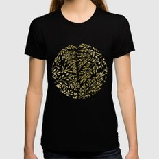 Gold Leaves Womens Fitted Tee MEDIUM Black