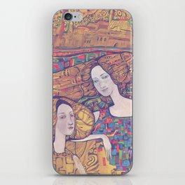 Two girls on the yellow ornamental background iPhone Skin