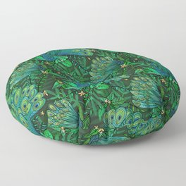 Peacocks in Emerald Forest Floor Pillow