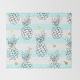 Pineapple express - aqua stripe gold splat Throw Blanket