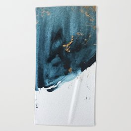 Sapphire and Gold Abstract Beach Towel