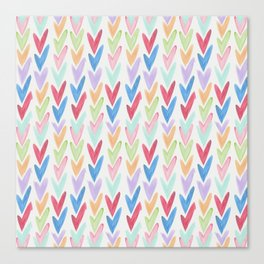 Modern hand painted colorful watercolor abstract chevron Canvas Print