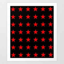 Red Stars on Black Art Print
