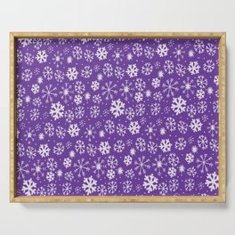 Snowflake Snowstorm With Purple Background Serving Tray