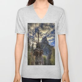 Ross Fountain And Edinburgh Castle Unisex V-Neck