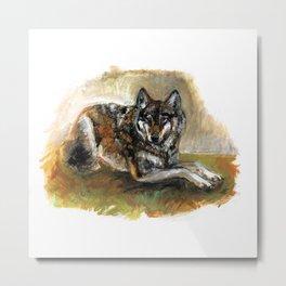 Carpathian wolf realistic (c) 2017 Metal Print