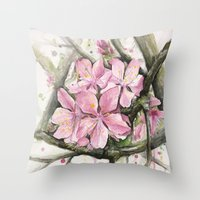 cherry blossom Throw Pillows featuring Cherry Blossom by Olechka
