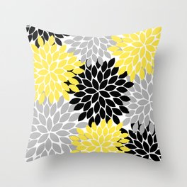 Yellow Black Gray Flower Burst Floral Pattern Throw Pillow
