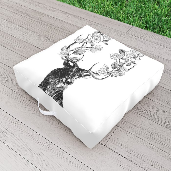 The Stag and Roses | Deer and Flowers | Vintage Stag | Vintage Deer | Antlers | Black and White | Outdoor Floor Cushion