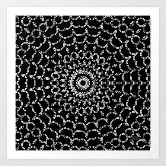 Mandala Fractal in Black and White Art Print