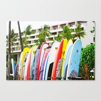 surfboard Canvas Prints featuring SURFBOARD by Julia Jean Kennedy