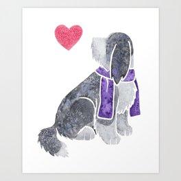 Watercolour Bearded Collie Art Print