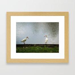 A Lakeside Chat Framed Art Print