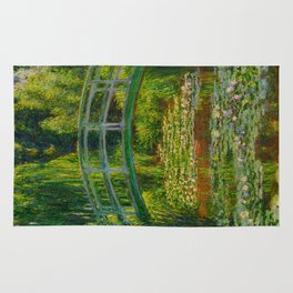 Claude Monet Impressionist Landscape Oil Painting-The Japanese Footbridge and the Water Lily Pool, Rug