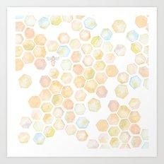 Bee and honeycomb watercolor Art Print
