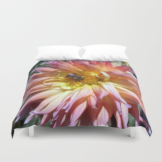 The Apricot Dahlia And The Bee Duvet Cover