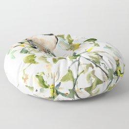 chickadee and dogwood, chickadee art design floral Floor Pillow