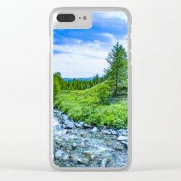 The Altai landscape with mountain river and green rocks, Siberia, Altai Republic, Russia Clear iPhone Case