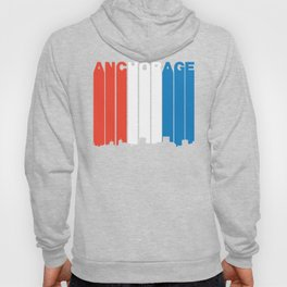 Red White And Blue Anchorage Alaska Skyline Hoody