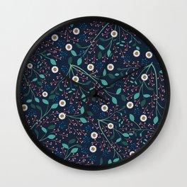 Dense Flora Midnight Wall Clock