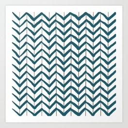 Chevron Arrows Teal White Art Print