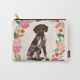 german shorthair pointer floral wreath spring dog breed pet portrait gifts Carry-All Pouch