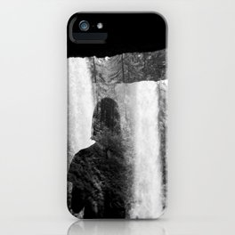 Washed Away by Waterfalls - Black and White Holga Film Photograph iPhone Case