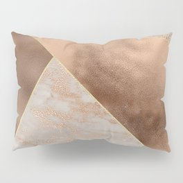 Copper Foil and Blush Rose Gold Marble Triangles Pillow Sham