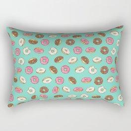 ALL the donuts! Rainbow on Aqua Rectangular Pillow