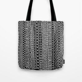 Black white hand painted geometrical aztec pattern Tote Bag