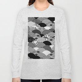Nature background with japanese sakura flower, Cherry, wave circle Black gray white colors Long Sleeve T-shirt