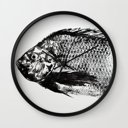 gyotaku - koi fish Wall Clock