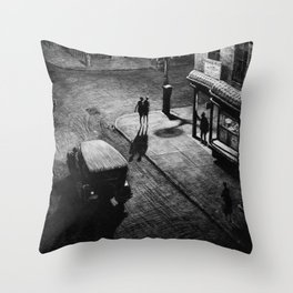 Speakeasy Corner, Night cityscape street view black and white portrait by Martin Lewis Throw Pillow