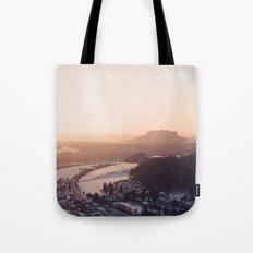 Sunrise in Saxon Switzerland Tote Bag