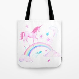 Watercolor Over the Rainbow Pink Unicorn Tote Bag
