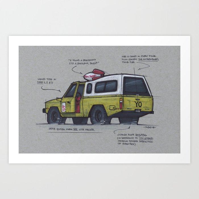 Pizza Planet Truck Art Print By Thosenerdydesignsketches Society6