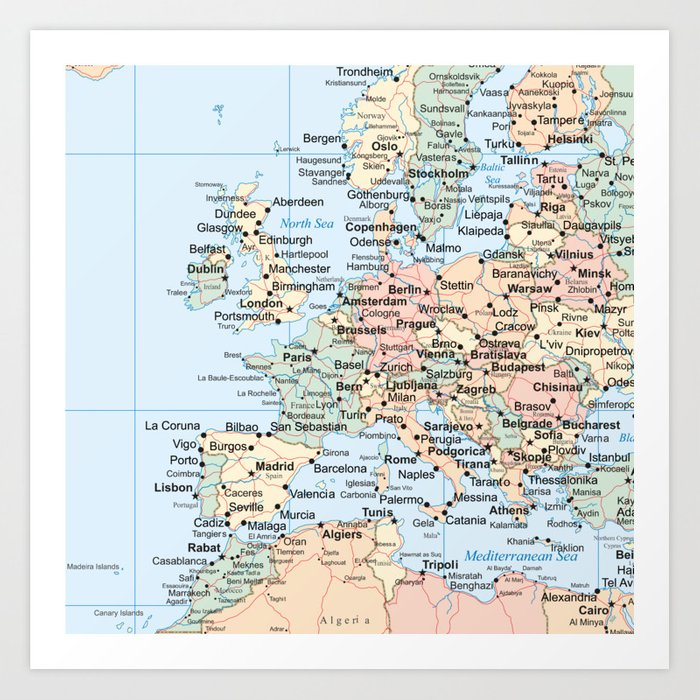 World Map Europe Art Print by artprink