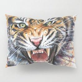 Tiger Watercolor Animal Painting Pillow Sham