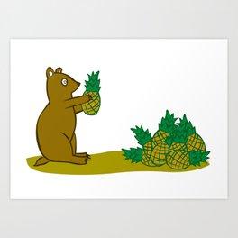 Pineapple Harvesting Bear Art Print