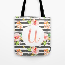 U botanical monogram. Letter initial with colorful flowers and gray stripes Tote Bag