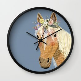 Horse with flower crown Wall Clock