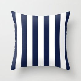 Simply Vertical Stripes in Nautical Navy Blue Throw Pillow