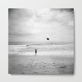 """""""Lonely Beach Bird"""" in Black and White - Holga Photograph Metal Print"""
