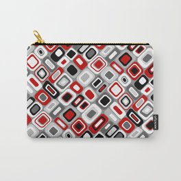 Diagonal Mid Century Modern Squares and Rectangles // Red, Gray Black, White Carry-All Pouch