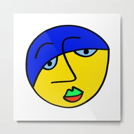 Colored Sad Man's Face Metal Print