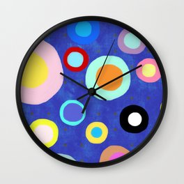 Marine Blue Watercolour Happy Circles Wall Clock