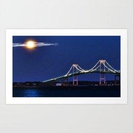 Full Moon and the Newport Bridge at Twilight- Newport, Rhode Island Art Print