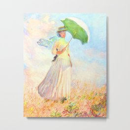 Woman with a Parasol, facing right - Claude Monet 1886 Metal Print